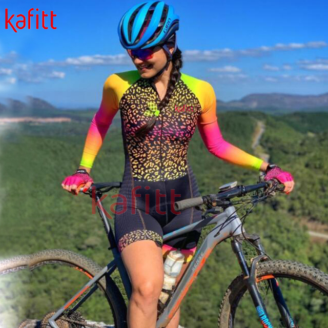 Kafitt calças de ciclismo das mulheres long-sleeved macacão bicicleta terno da bicicleta de estrada mountain bike terno profissional moletom ciclismo 3