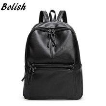 Bolish New Travel Backpack Korean Women Female Rucksack Leisure Student School bag Soft PU Leather Women