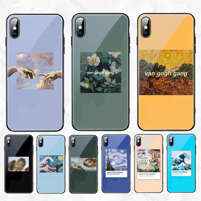 Van Gogh Michelangelo Artsy Aesthetic Painting Soft Silicone Glass For Iphone 5s Se 6 6s 7 8 Plus X Xr Xs 11 Pro Max Phone Case
