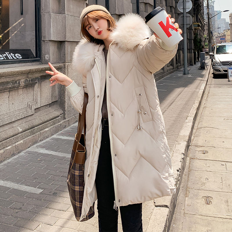 Long 2019 New Fashion Slim Women Fur Winter Jacket Cotton Padded Warm Thicken Ladies Coat Long Coats   Parka   Womens Jackets