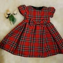 Праздничное платье принцессы для маленьких девочек от 0 до 24 месяцев красные клетчатые платья-пачки с бантом, одежда летнее модное обтягивающее платье с бантом для младенцев
