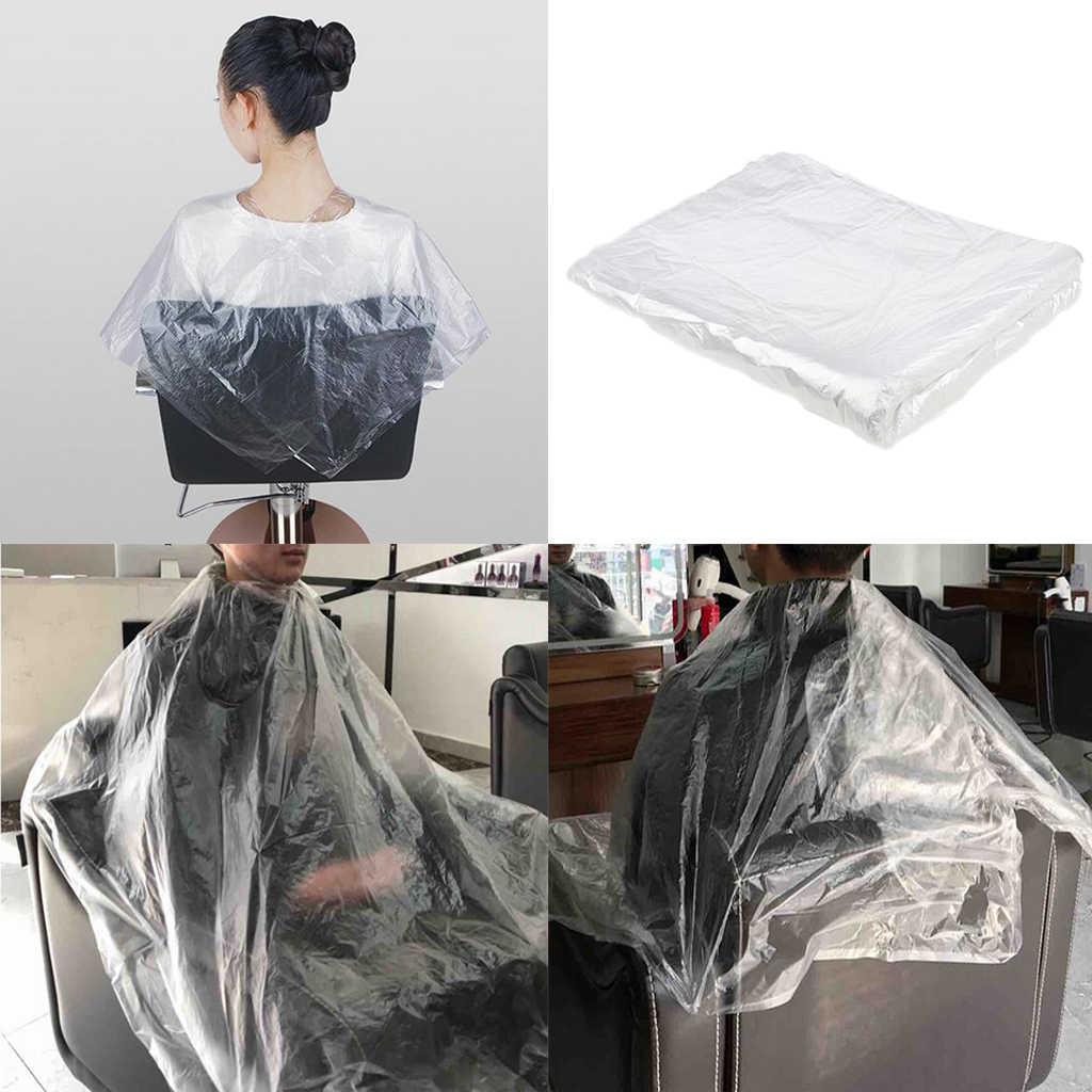 50/100 pz impermeabile usa e getta parrucchiere mantelle PE abito da taglio per capelli barbiere parrucchiere Cape parrucchiere grembiule di stoffa
