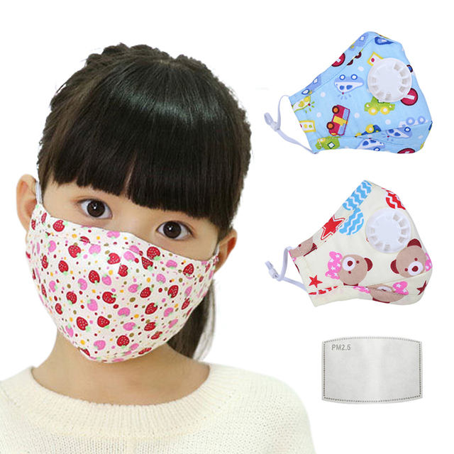 PM2.5 Filter Face Mask For Children Kids Girls Boys Cotton Anti Dust Mouth Masks 2pcs Activated Carbon Breathable Respirator