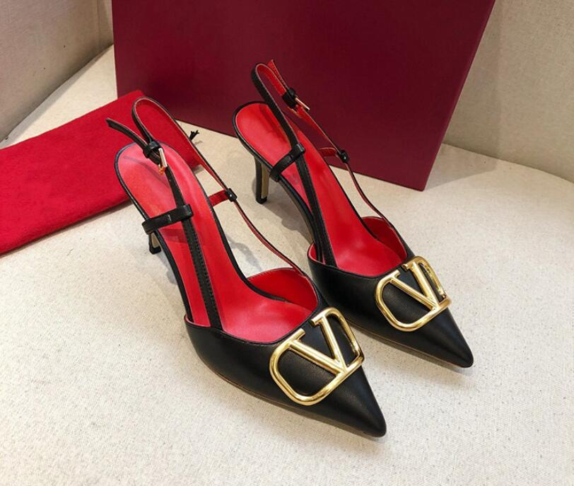 Luxury Brand New Metal V shaped Buckle Sandals Pointed Pumps and Stiletto Heels Elegant Sexy Wedding Shoes and Party Shoes
