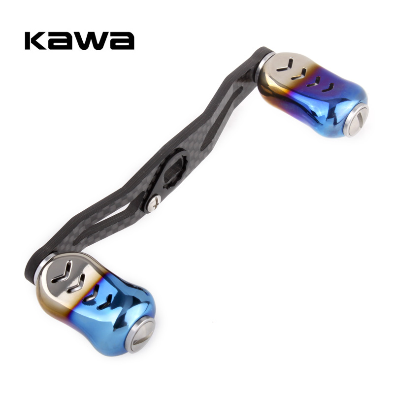 KAWA Fishing Reel Handle Carbon Fiber With Alloy Knob For S/D Bait Casting Reel Hole Size 8x5mm and 7*4mm Length 105mm