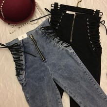 купить Fashion Women Lace-Up Bowknot Pencil Jeans Ankle-Length Zipper Denim Pants Casual Female Plus Size High Waist Pants Trousers по цене 1290.25 рублей