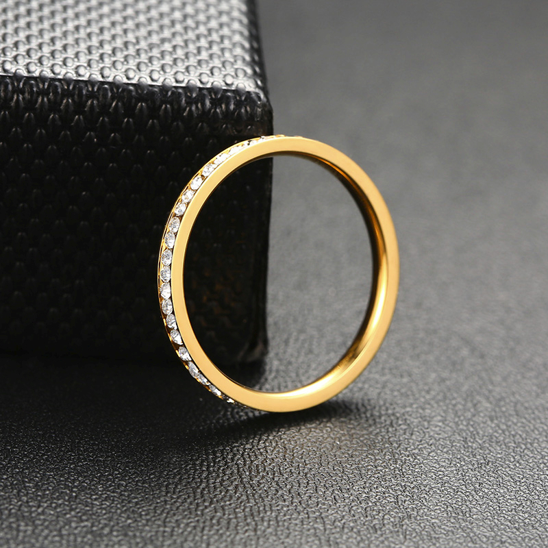 Vnox 2mm Bling CZ Stones Ring for Women Lady Gold Tone Stainless Steel Shinny Crystal Finger Band Elegant Jewelry 4