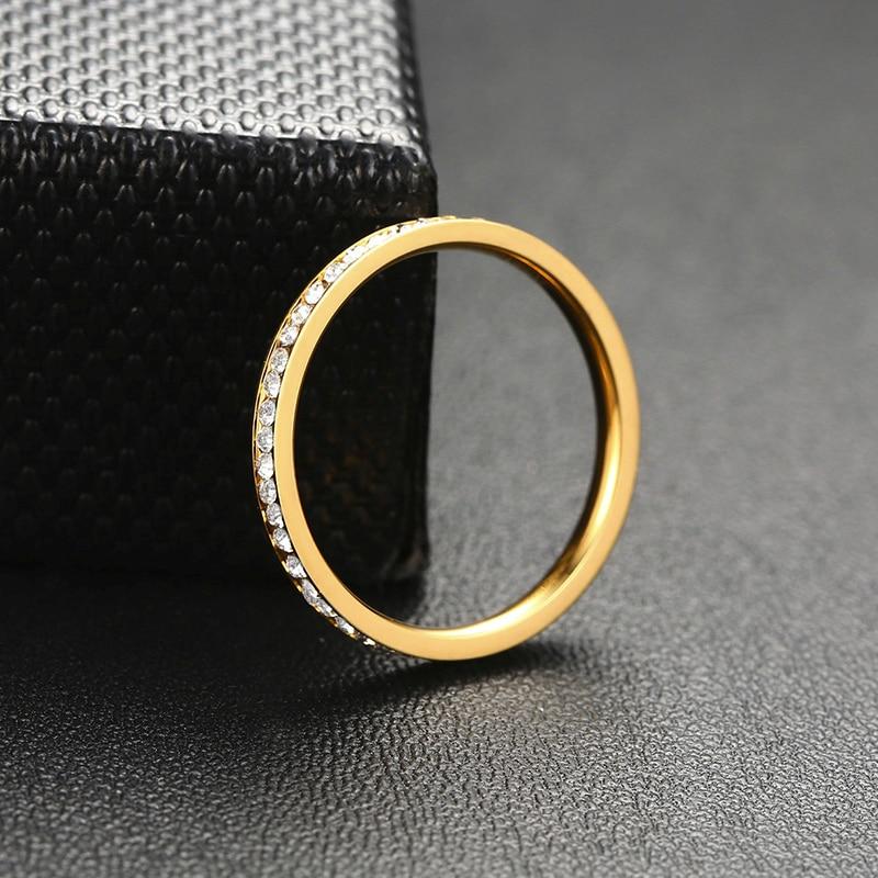 Vnox 2mm Bling CZ pierres anneau pour femmes dame ton or acier inoxydable brillant cristal doigt bande bijoux élégants 4
