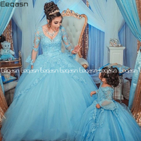 Eeqasn Princess Arabic Light Blue Quinceanera Dresses 2020 Lace Applique Sweetheart Prom Dresses Lace up Sweet 16 Party Dress