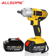 Screwdriver Impact-Wrench Cordless Electric ALLSOME Drill 320nm Two-Batteries 98VF