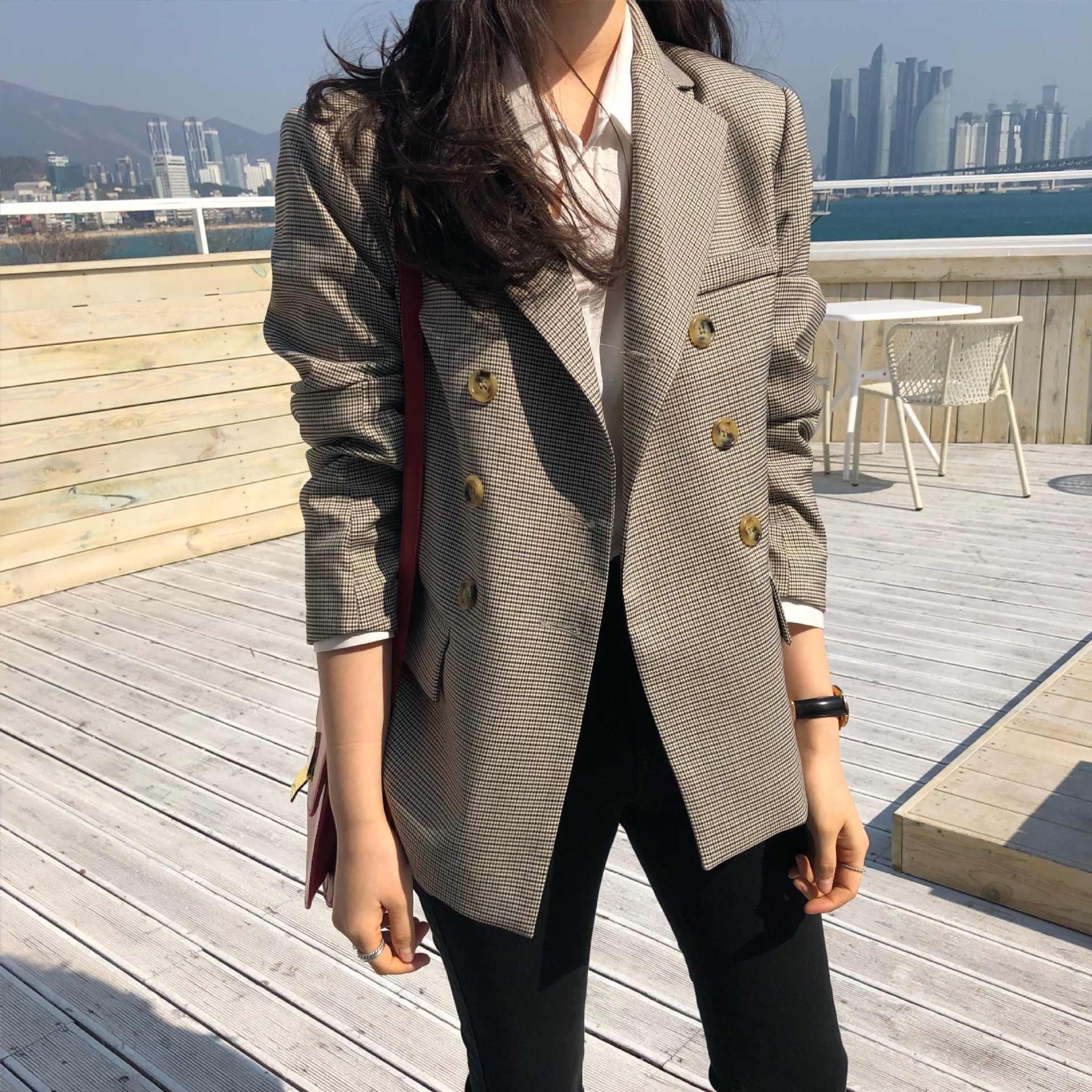 古典的な女性のブレザー 2019 秋の新スリムフルスリーブチェック柄ジャケット女性ヴィンテージヒップスターオフィススーツ高品質 2 色