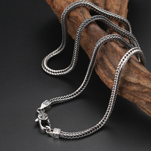 Thai Silver 4mm Square Fox Tail Necklace Men Women S925 Sterling Silver Retro Classical Weave Long Chain Necklaces Jewelry