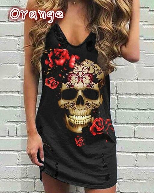 Skull Print Women Sleeveless Shirt Dress Summer Gothic Style Ladies Casual V Neck Loose Short Mini Dresses Tank 4