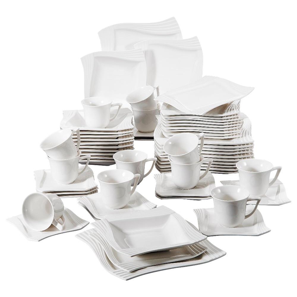 Piece White Porcelain Dinner Set
