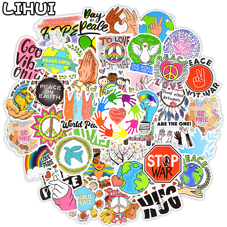 50 PCS Love and Peace Hippies Stickers Aesthetic Cute Sticker for Laptop Phone Suitcase Water Bottle Fridge Bike Moto Car Decals