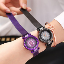 Women Silver Watches Magnetic Lucky Flower Diamond Watch Female Creative Rhinestone Dial Top Luxury Quartz Bracelet montre femme
