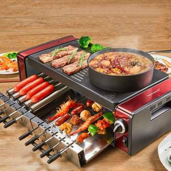 Household Smokeless Electric Grill Barbecue hot pot 220V Multifunctional Electric Grill Pan Korean Style Non-stick BBQ Machine kebab machine household electric grill automatic rotation of barbecue grill indoor smokeless barbecue machine small kebabs