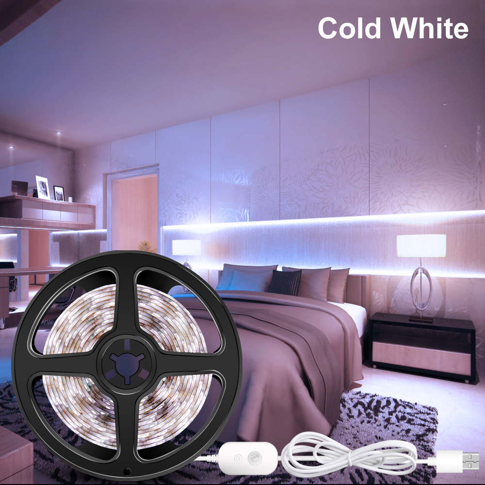 PIR LED Motion Sensor Light Strip USB Powered Cupboard Wardrobe Bed Lamp LED Under Cabinet Night Light For Closet Stairs Kitchen