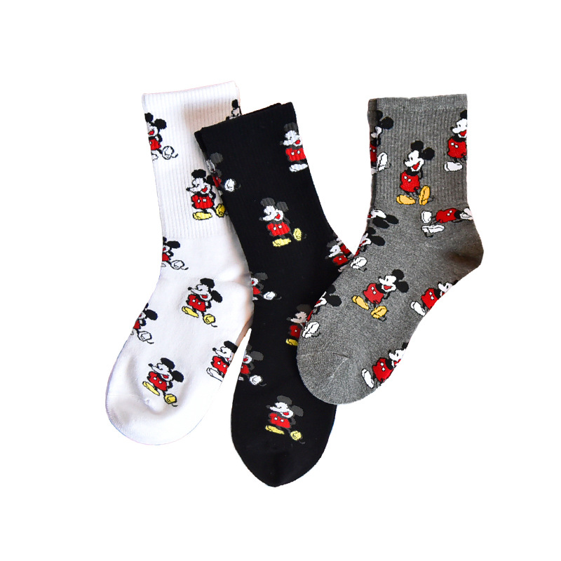 3 Pairs Mickey Socks Cute Cartoon Fashion Socks Harajuku Funny Socks Women Cotton Socks Female Cute Sock Women Skateboard Socks