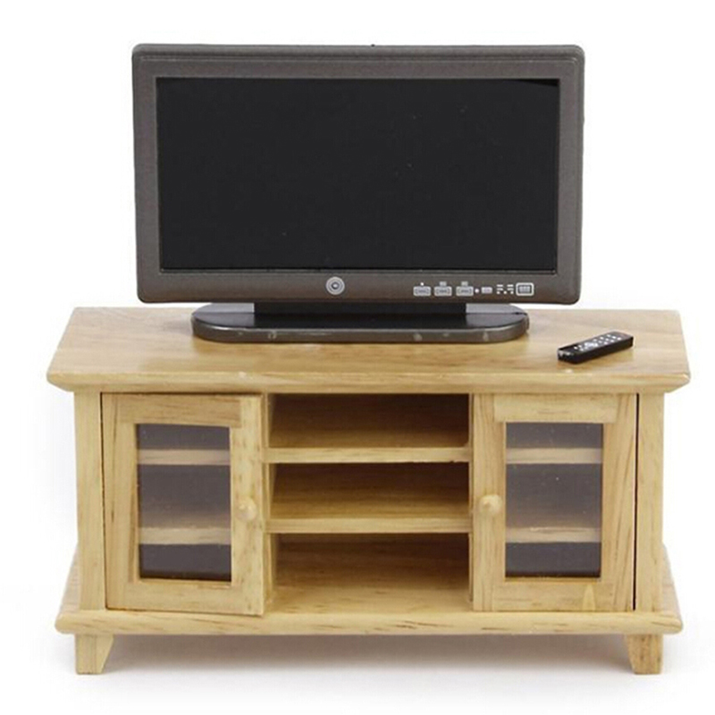 1/12 Scale Dollhouse Miniatures TV Cabinet Stand Table Wooden Toys Furniture Dolls House Handcrafted