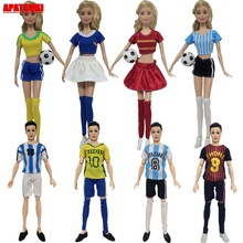 2sets/lot Casual Football Sports Wear Costume Top Shirts Short Pants Socks for Barbie Doll Outfits Clothes for Ken Boy Male Doll