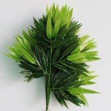 5Pcs Takken Groene Kunstmatige Bamboe Bladeren Zijden Doek Kunstplanten Voor Bruiloft Decoratie Home Office Decoratieve Bladeren
