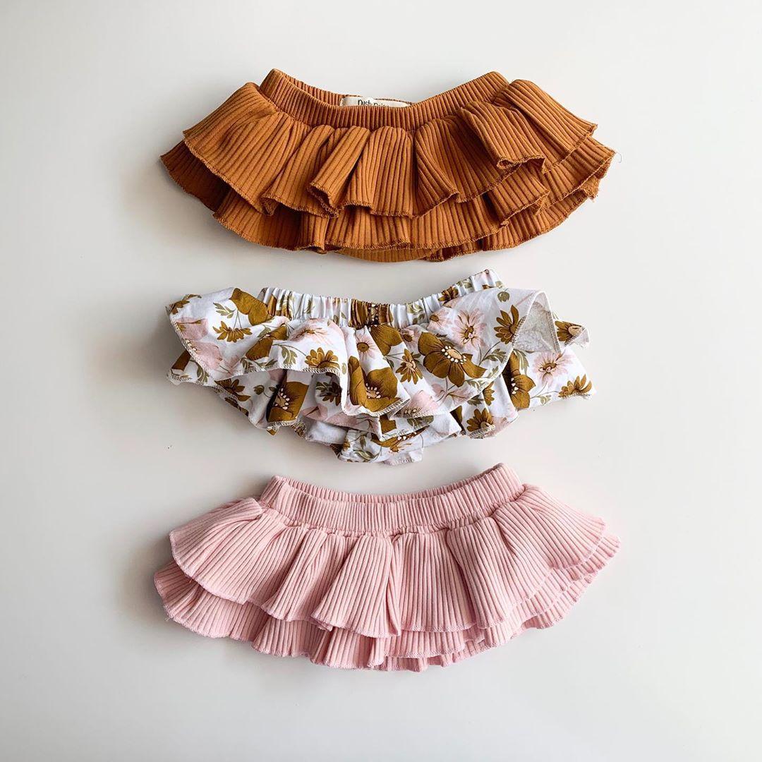 Летняя одежда для малышей 2020, шорты с рюшами и цветочным рисунком для новорожденных девочек, модные однотонные юбки, шорты PP