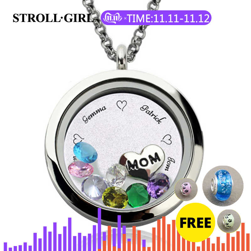 StrollGirl 925 เงินสเตอร์ลิงส่วนบุคคลปรับแต่งแกะสลักลอย Charm Locket สำหรับ MOM หรือยายเงินเครื่องประดับ
