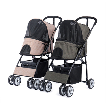 4-Wheel Cat Stroller Foldable Dog Stroller with Removable Liner and Storage Basket for All sizes Pet Multiple Colors Pet Suplies