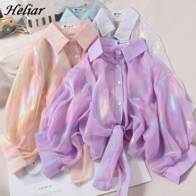 HELIAR Spring Women Shining Sparkles Shirts Long Sleeve Button Up Chiffon Shirts Transparent