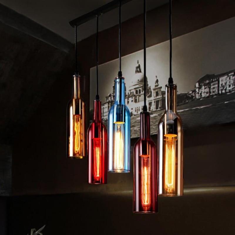 Vintage créatif bouteille de bière verre pendentif lumineux LED E27 avec 5 couleurs loft suspension lampe à vin pour bar cuisine restaurant vintage