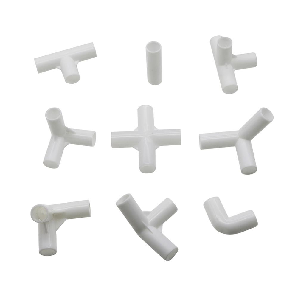 5 Pcs 12mm PVC Straight Elbow  Cross Connector Joint 60 90 120 135 Degree Tee Connector PVC Pipe Fitting DIY Tent Fixed Fittings