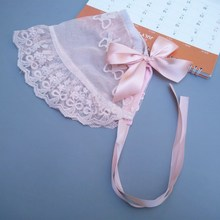 Lace Christening Baby Bonnet Baby Girls Baptism bonnet Ivory lace hat Newborn Infant Granny Hat Milk Maid Cap Photo Props H212S недорого