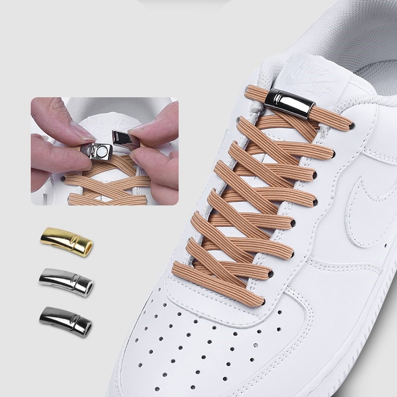 1 Second Quick Magnetic Shoelaces Elastic Flat Metal Locking No Tie Shoelace Outdoor Leisure Sneakers High Quality Lazy Laces