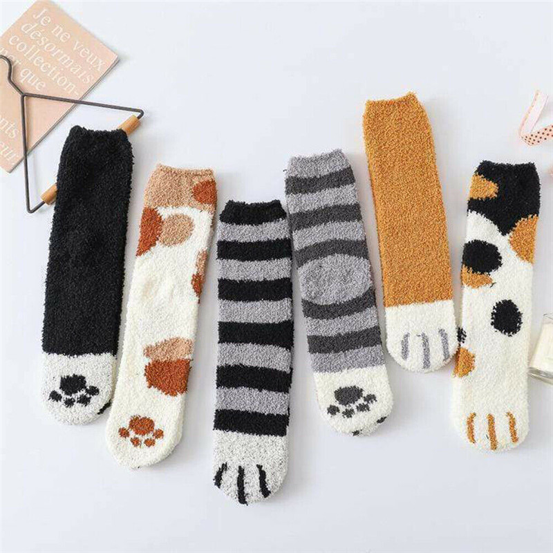 Winter Cat Claws Cute Socks Thick Warm Fluffy Coral Fleece Sleeping Floor Socks Female Plush Warm Winter Hosiery 1 Pair Of Sock