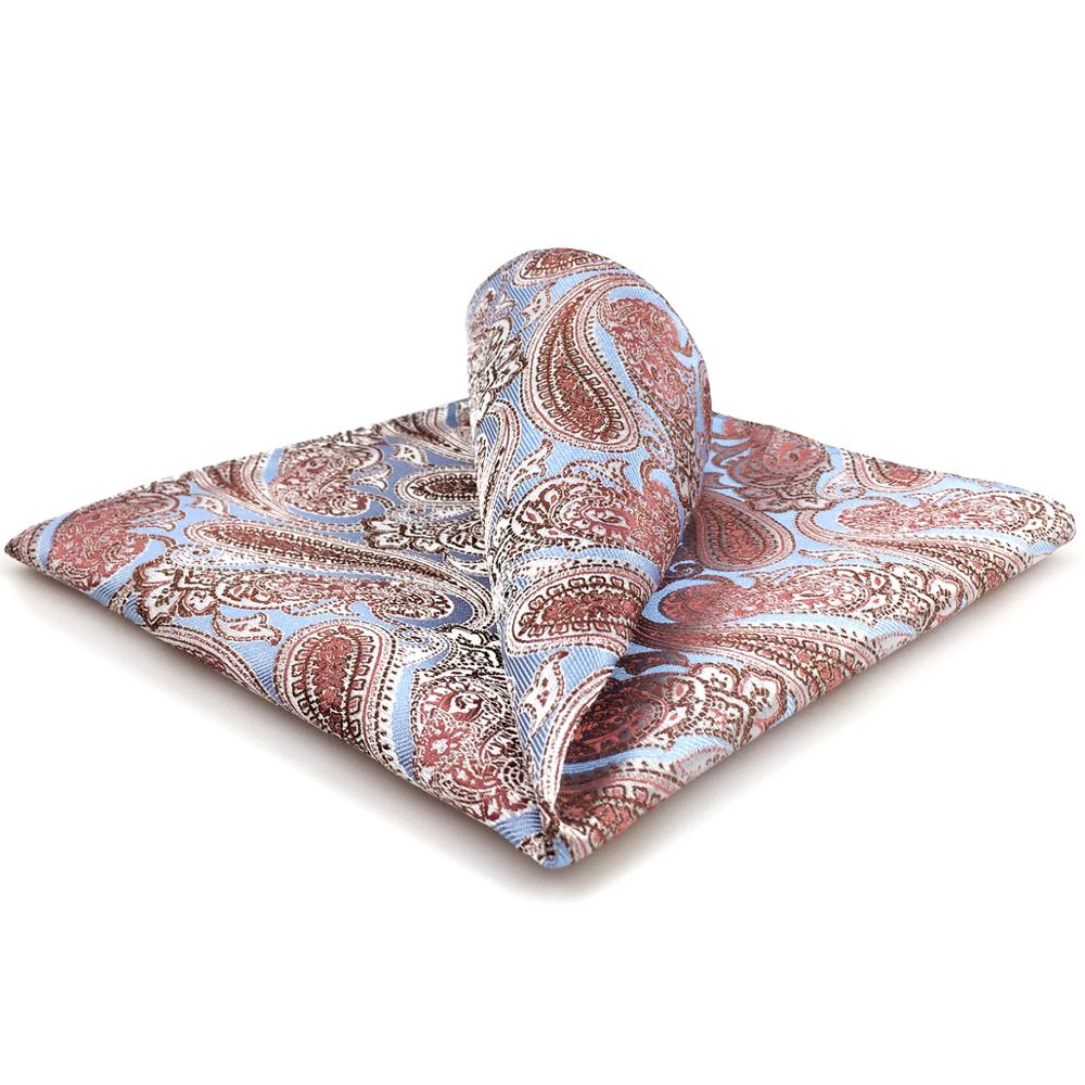 FH07 Azure Blue Pink Mens Pocket Square Fashion Designer Handkerchief Wedding Hanky