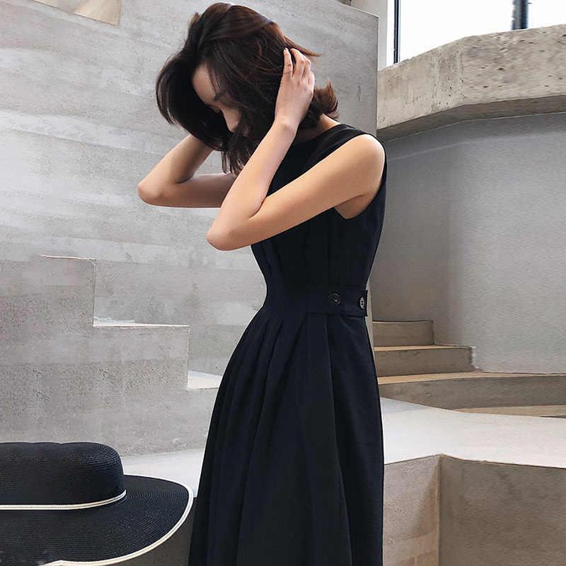 Ärmellose Sommer Weiß Elegante frauen Kleid O neck Taschen Schwarz Midi Kleider Weibliche 2020 Mode Lässig Dame Tank Sommerkleid