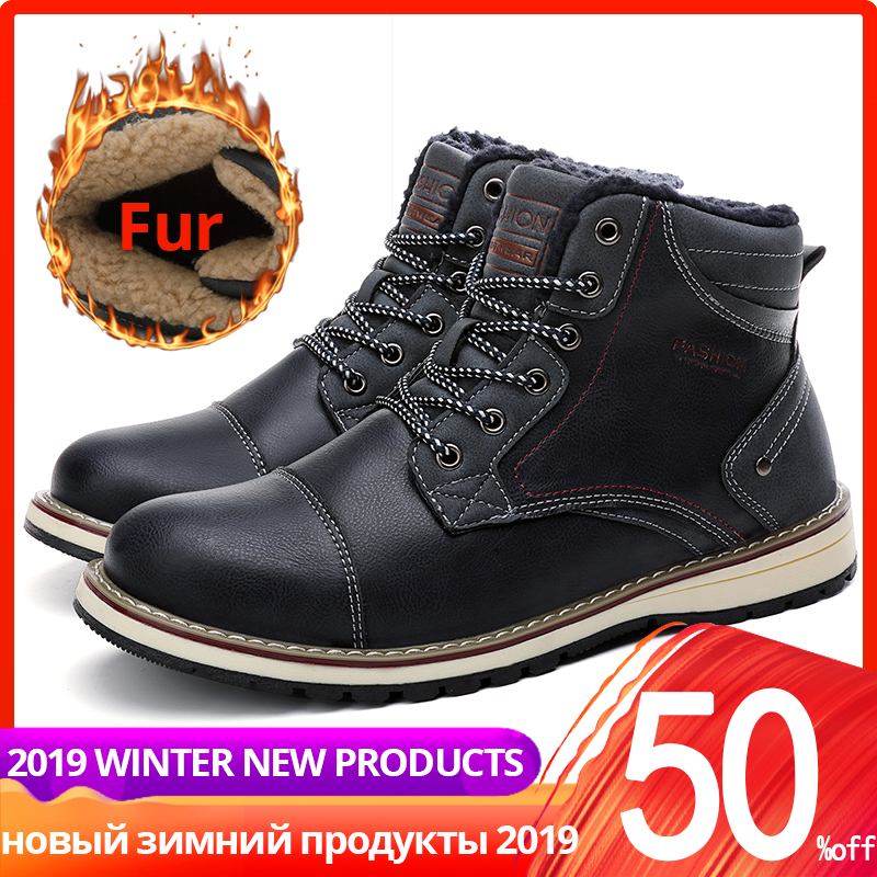 Winter Boots Men Leather With Fur Plush Casual Warm High Top High Quality Ankle Men Winter Shoes #XWA9714