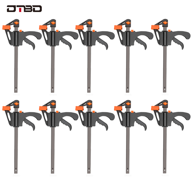 DTBD 4 Inch 2/3/4/5/10Pcs Woodworking Work Bar F Clamp Clip Set Hard Quick Ratchet Release DIY Carpentry Hand Tool Gadget 1