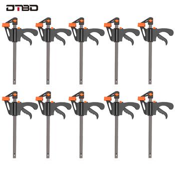 DTBD 4 Cal 2 3 4 5 10 sztuk obróbki drewna Bar F zacisk zestaw klipsów twarde szybkie Ratchet Release DIY stolarstwo narzędzia ręczne gadżet tanie i dobre opinie Do obróbki drewna Szczypce CN (pochodzenie) DTBD025 Narzędzia do obróbki drewna 4 inch Clamp F Clamp 2 3 4 5 10pcs