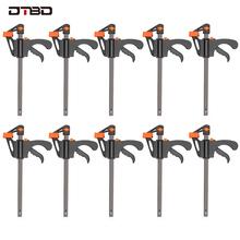 DTBD 4 Cal 2 3 4 5 10 sztuk obróbki drewna Bar F zacisk zestaw klipsów twardy uchwyt szybkie Ratchet Release DIY stolarstwo narzędzia ręczne gadżet cheap Maszyny do obróbki drewna Szczypce CN (pochodzenie) DTBD025 Narzędzia do obróbki drewna 4 inch Clamp F Clamp 2 3 4 5 10pcs