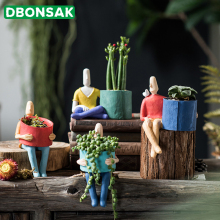 Мультяшный персонаж керамический цветочный горшок суккуленты абстрактное человеческое лицо цветочный горшок Домашний Настольный ваза микро ландшафтное украшение