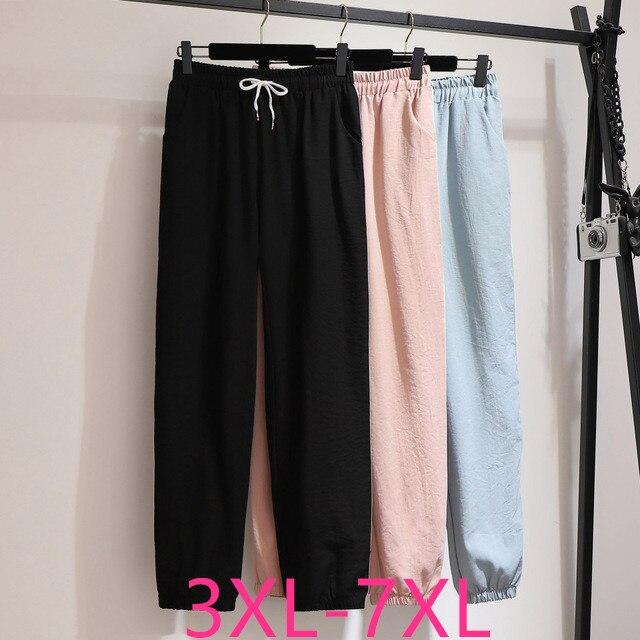 2020 Fashion Spring Autumn Plus Size Sports Pants For Women Large Loose Casual Elastic Waist Long Trousers Blue 4XL 5XL 6XL 7XL
