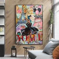 Póster pintura lona grafiti moderno para mujer, imagen de pared para sala de estar, decoración para hogar sin marco