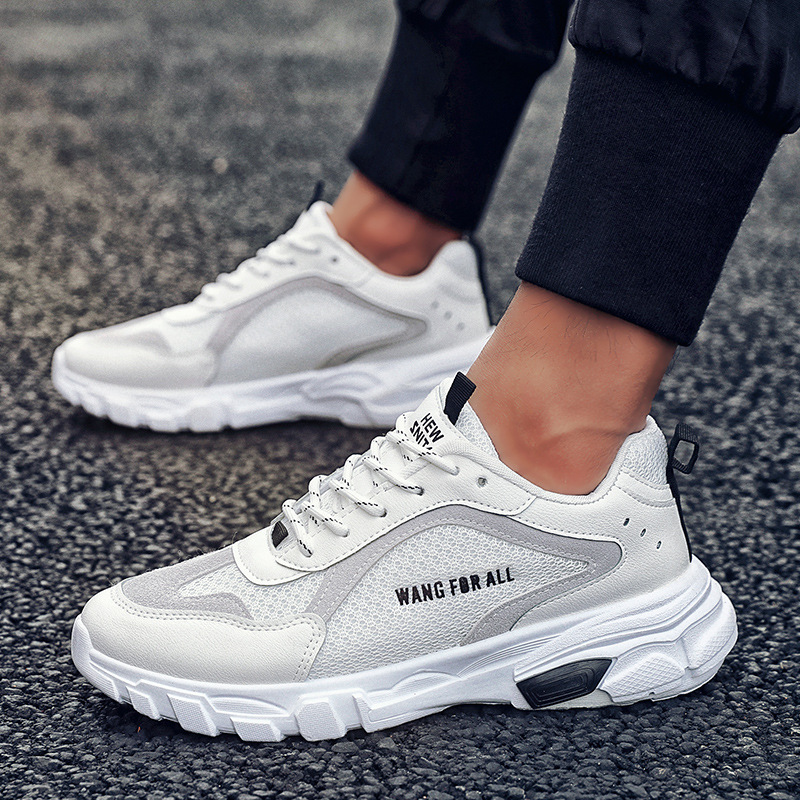 Mesh Breathable Men Shoes Summer Solid Black White Light Soft Sneakers Comfortable Men Casual Shoes