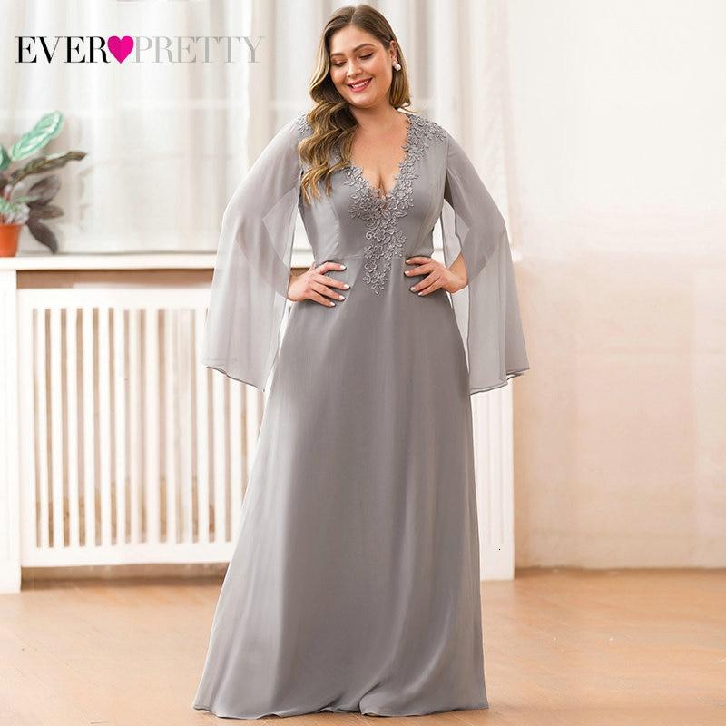 Plus Size Green Evening Dresses Ever Pretty EZ07948 A-Line V-Neck Appliques Elegant Women Formal Dresses For Party Abendkleider