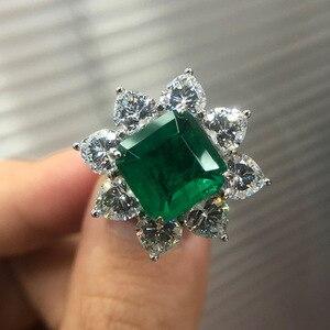 Image 2 - PANSYSEN 여성을위한 절묘한 럭셔리 10MM 스퀘어 에메랄드 반지 여성 기념일 칵테일 파티 반지 다이아몬드 파인 쥬얼리 선물