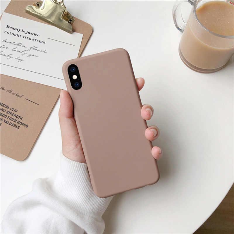 Kahverengi mat telefon kılıfı için iphone 11 Pro XS Max XR X 8 7 6S 6 artı SE 5 5S silikon kılıfları düz renk yumuşak TPU arka kapak
