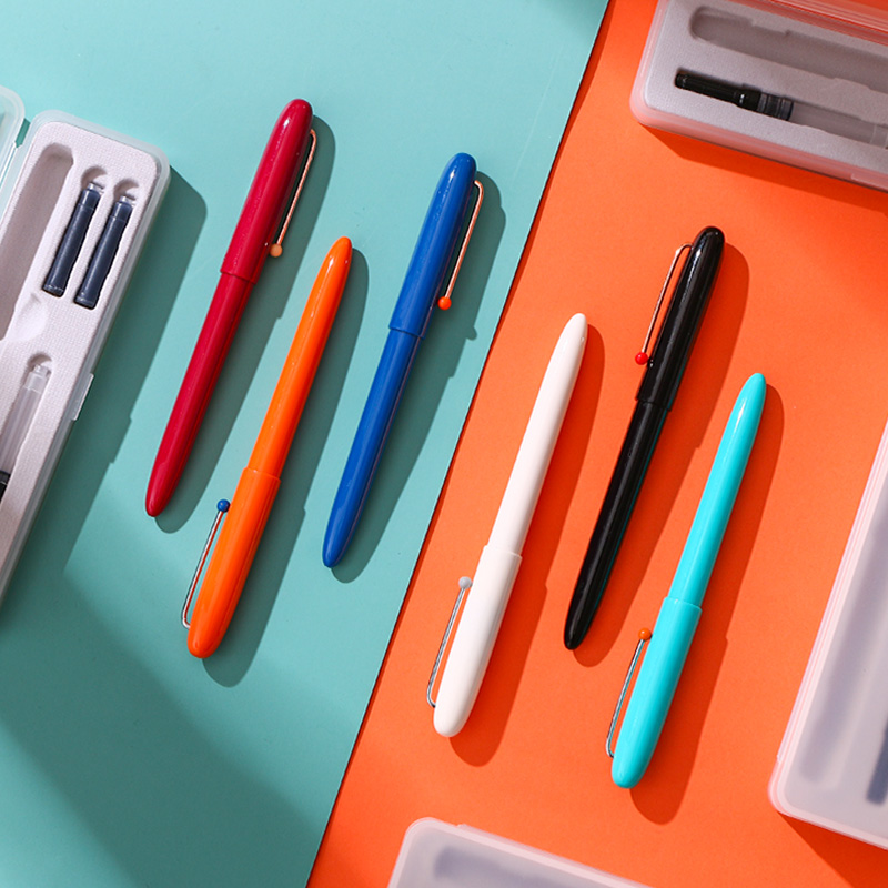 Kaco Retro 0.38mm Hooded Nib Fountain Pen with Ink Cartridge Gift Set Smooth Writing Student Practice Handwriting Pens