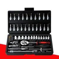 46 conjuntos de piezas de vanadio cromado acero manga herramienta combinación reparación kit herramienta manga auto reparación kit|Juegos de herramientas manuales| |  -